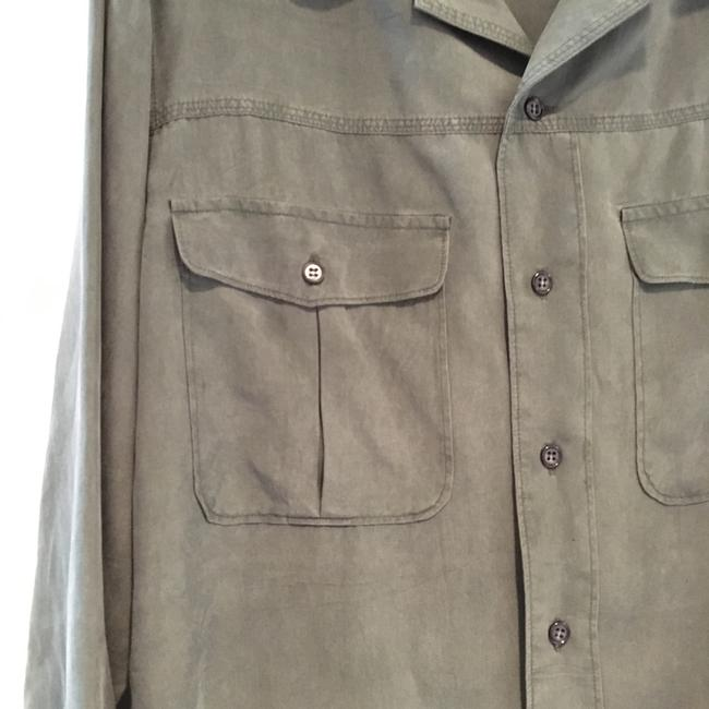 Go Silk Button Down Shirt Washed Sage Green Image 3