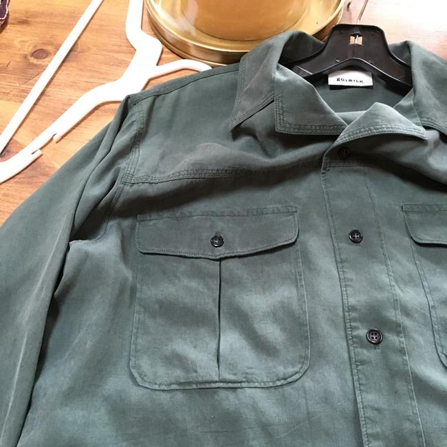 Go Silk Button Down Shirt Washed Sage Green Image 4