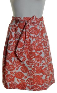 J.Crew Floral Tie Bow Pleated Front Skirt Orange