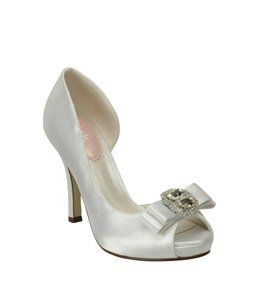 PINK Hot Satin Pump With Brooch Accent Wedding Shoes