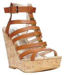 Steve Madden Wedge Leather Brown, Gold, Cork Wedges