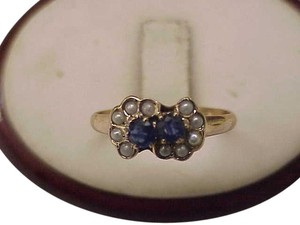 Other Antique Victorian 12k Yellow Gold Genuine Sapphires & Genuine Pearl Seeds Ring, late 1800s