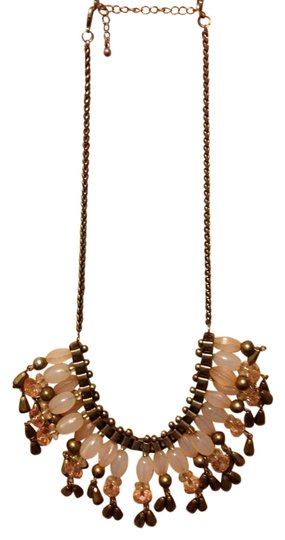 none Bronze/Pink Statement Beaded Necklace