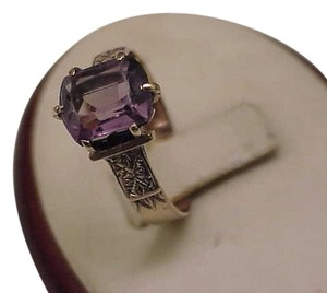 Other Super Nice Fancy 10K Gold Victorian Ring Genuine Amethyst Great Mount, 1800s