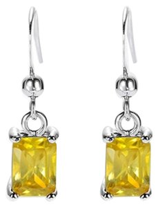 Freestyle Emerald Gemstone Dangle Earrings in White Gold Plated