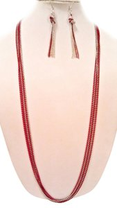 Worthington Fire Engine Red & Silver Ball Necklace & Drop Dangle Chain Earring Set