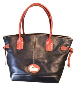 Dooney & Bourke Tote in Black and Saddle Leather