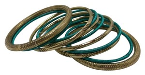 Set of 11 Teal and Goldtone Bangles Free Shipping