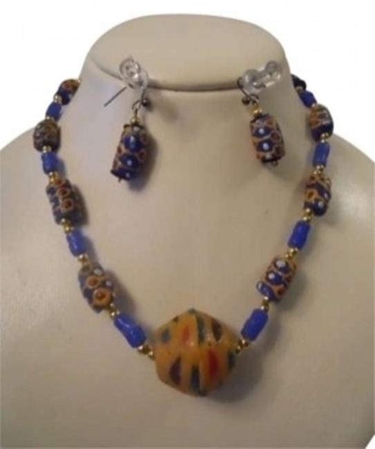 Blue Hand Made S.african Necklace & Earrings Blue Hand Made S.african Necklace & Earrings Image 1