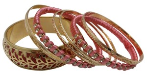 Other Set of 7 Pink and Goldtone with Austrian Crystals Bangles Free Shipping