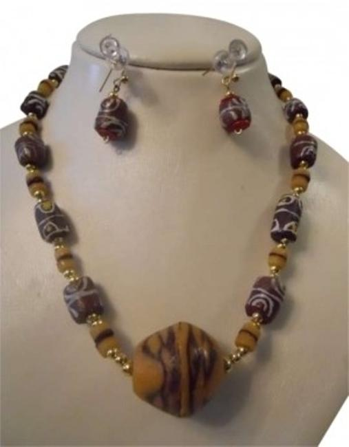 Brown Multi Hand Made S.african Necklace & Earrings Brown Multi Hand Made S.african Necklace & Earrings Image 1