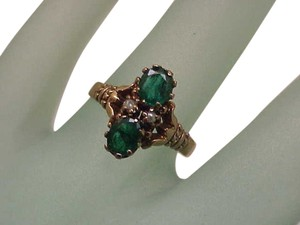 12K Gold Antique Victorian Genuine Emeralds & Pearl Ring, 1800s