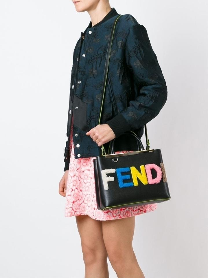 19be8005874d Fendi Petite 2jours with Shearling Logo Black Multi Leather Tote - Tradesy