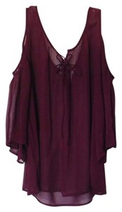 Arizona Sheer Flowy Rayon Tie Top Maroon