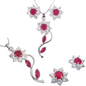 Freestyle Round Gemstones Fashion Jewelry Set in White Gold Plated