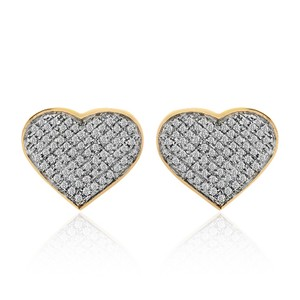 Avital & Co Jewelry 10k Yellow Gold 0.75 Ct Pave Set Round Diamond Heart Shaped Earrings