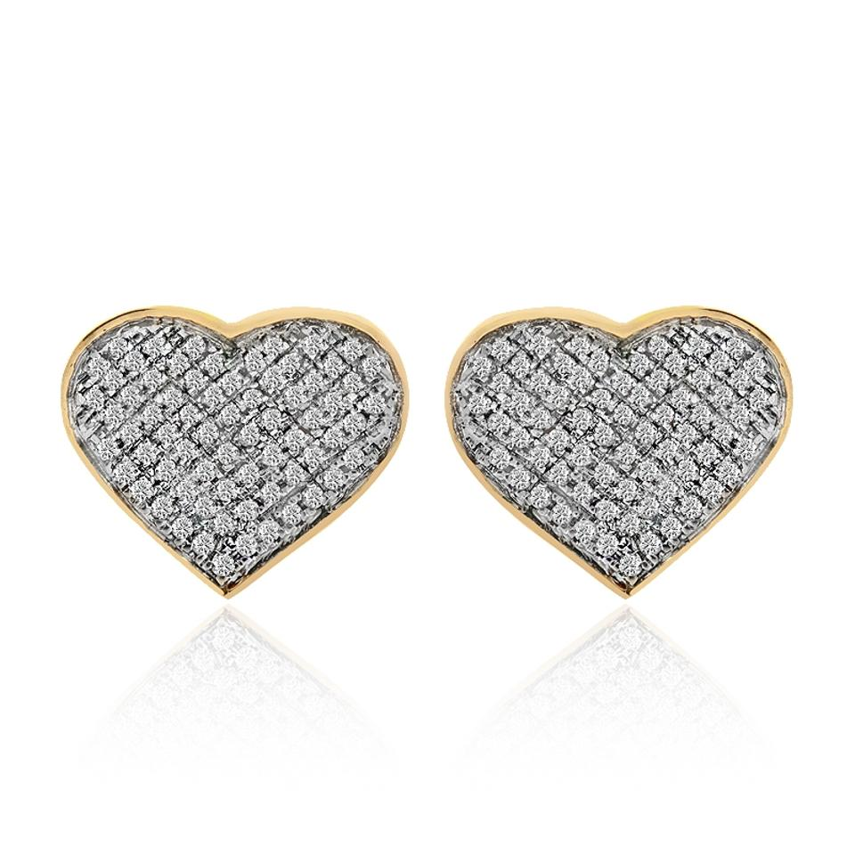 w gold heart p ct diamond certified solid natural earrings real studs shaped