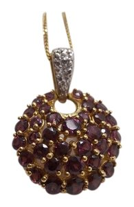 Other Garnet Pendant in 14K YG PTD Sterling Silver Nickel Free 20 in Chain Free Shipping