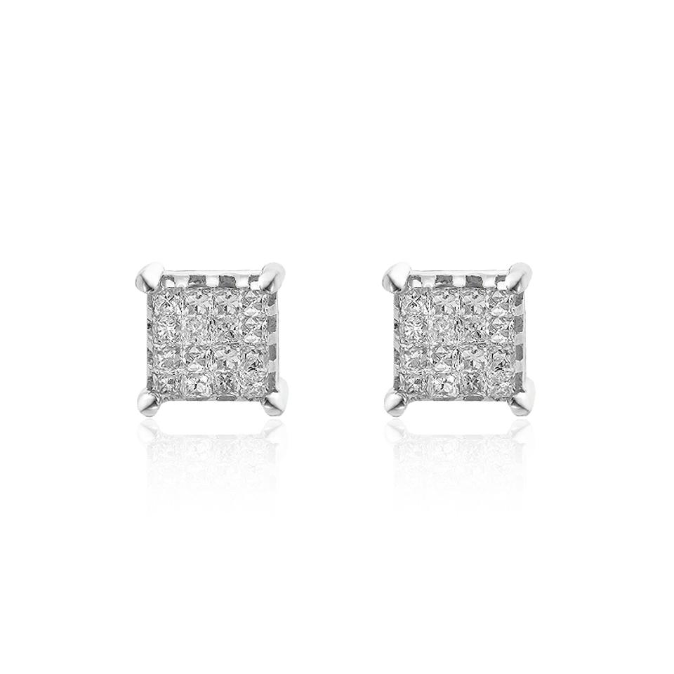 white invisible gold earrings diamond cut set princess wg product dia huggie