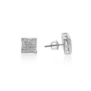 Avital & Co Jewelry 1.50 Carat Princess Cut Diamond Stud Earrings 14k White Gold