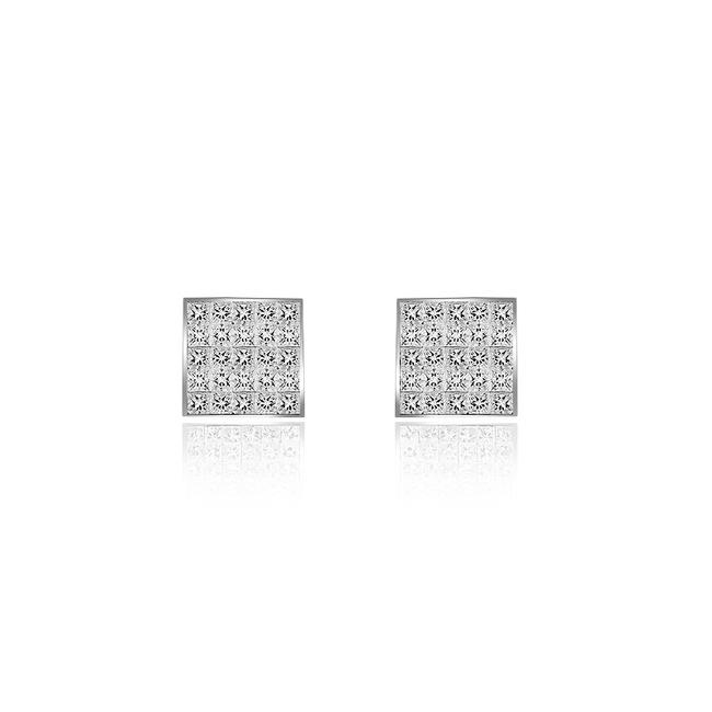Item - 14k White Gold 1.00 Carat Invisible Set Princess Cut Diamond Stud Wg Earrings