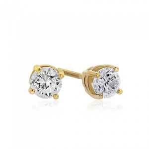 Avital & Co Jewelry 14k Yellow Gold 0.99 Carat Round Cut Diamond J/Si1 Stud Earrings