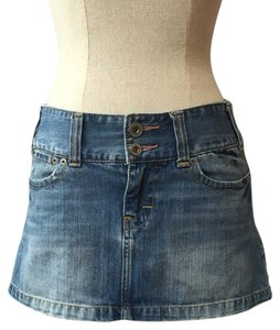 American Eagle Outfitters Mini Drop Waist Western Mini Skirt Denim
