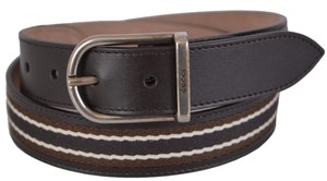Gucci New Gucci Men's 368189 Brown Leather Web Stripe Logo Buckle Belt 44 110