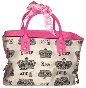 Juicy Couture Tote in Bkack, Silver And Pink