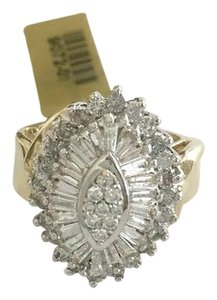 STEAL - FOR MOM 14k gold 3 carats total weight marquise, round brilliant and baguette cut diamond domed band