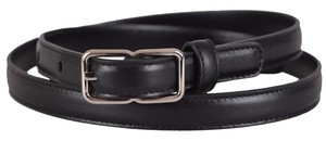Saint Laurent New Saint Laurent YSL Women's 334119 Black Leather Skinny Belt 28 70