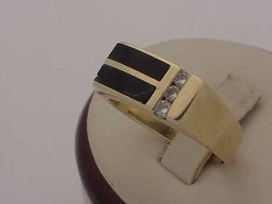 Other Unisex Estate 14kt Yellow Gold Black Opals & Diamonds Ring Image 1