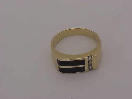 Other Unisex Estate 14kt Yellow Gold Black Opals & Diamonds Ring Image 2