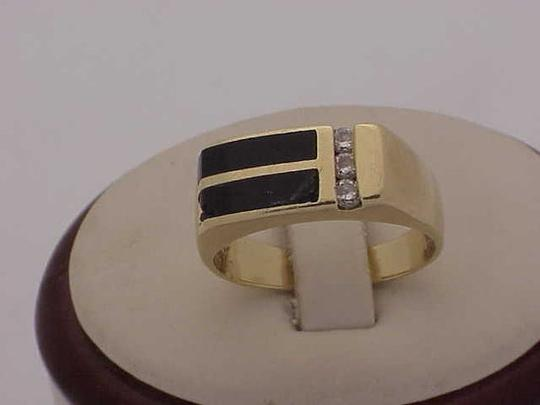 Other Unisex Estate 14kt Yellow Gold Black Opals & Diamonds Ring Image 3