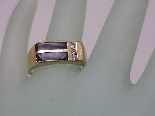 Other Unisex Estate 14kt Yellow Gold Black Opals & Diamonds Ring Image 4