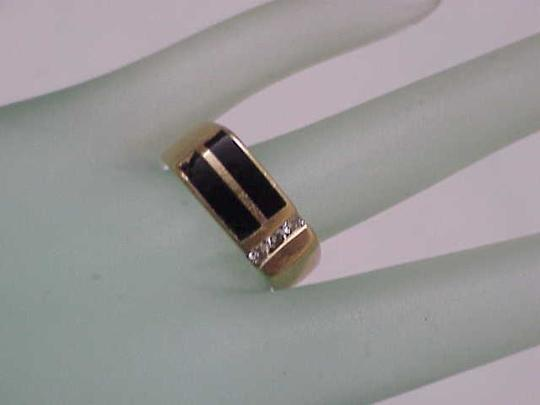 Other Unisex Estate 14kt Yellow Gold Black Opals & Diamonds Ring Image 5
