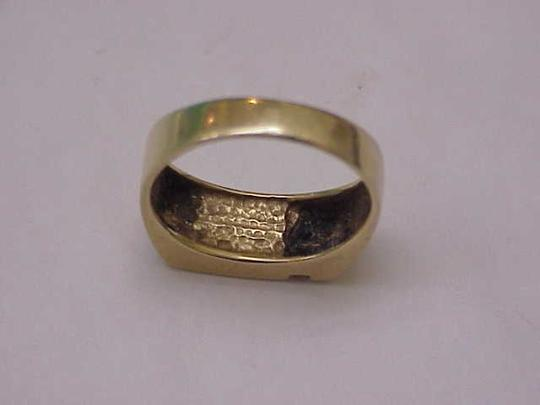 Other Unisex Estate 14kt Yellow Gold Black Opals & Diamonds Ring Image 6