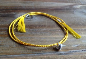 Anthropologie New Minimal Modern Anthropologie Handmade Friendship Skinny Thin 100% Silk .9 mm Thread Cord 925 Genuine Sterling Silver Tiny Round Bead Heart Charm Bracelet yellow
