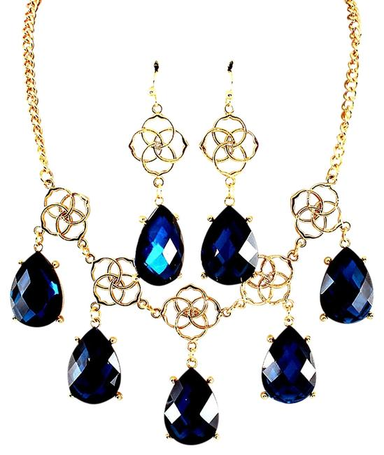 Item - Blue Peacock Teardrop and Earring Set Necklace