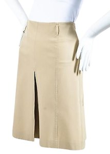 Prada Khaki Paneled Box Skirt Beige