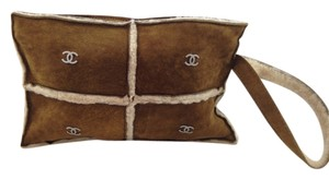 Chanel Fur Cozy Wallet Soft Wristlet in Camel