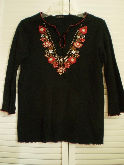 Eyeshadow W Like New Black Boho W/Embroidery Trim Blouse Size 6 (S) Eyeshadow W Like New Black Boho W/Embroidery Trim Blouse Size 6 (S) Image 1