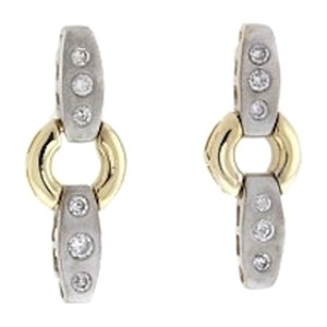 STEAL-14K white & yellow gold 1/2 ct diamond dangle stud earrings