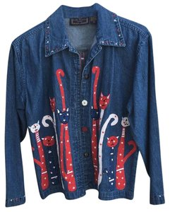Life style Cat Red white and blue Womens Jean Jacket
