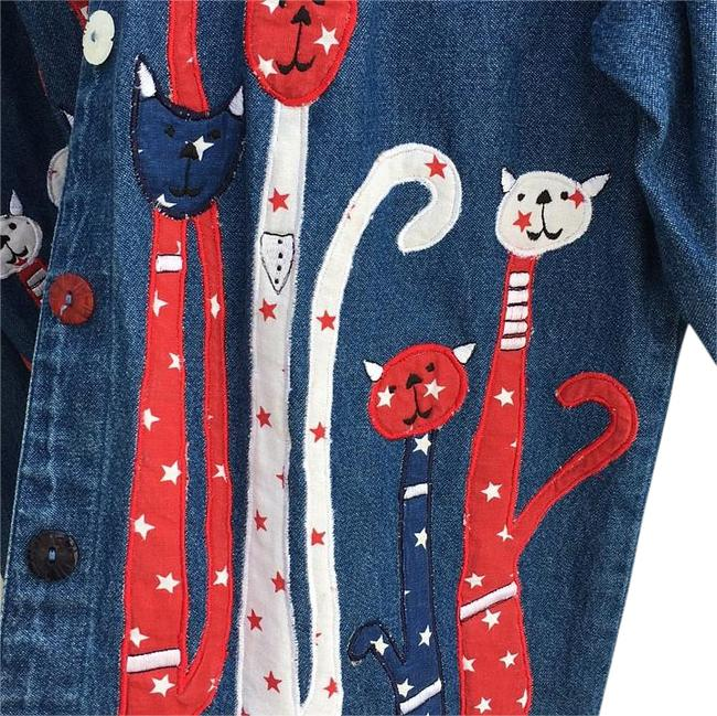 Life style Cat Patriotic 4th Of July Independance Red white and blue Womens Jean Jacket