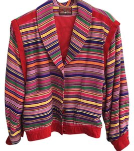 Neiman Marcus Striped Festive Coat Colorful Spring Red rainbow Jacket