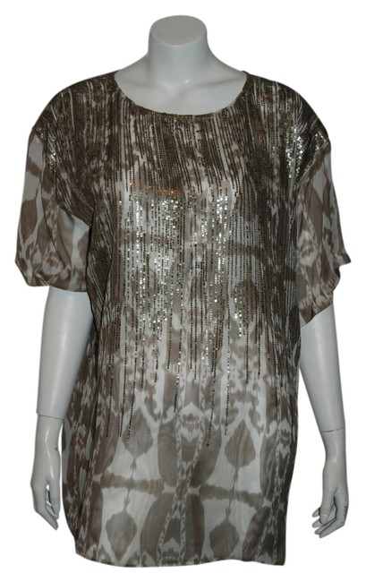 Preload https://img-static.tradesy.com/item/14621551/beige-62-white-sequin-printed-tunic-blouse-size-os-one-size-0-1-650-650.jpg