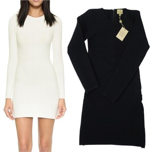 Torn by Ronny Kobo short dress Black Stretchy Longsleeve Bodycon Textured Ribbed Knit on Tradesy