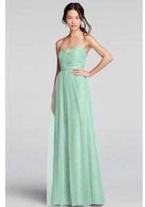 David's Bridal Mint Strapless Tulle Long Dress With Removable Belt Dress
