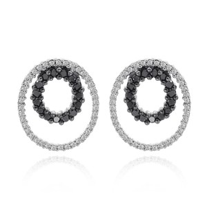Avital & Co Jewelry 0.34 Carat Eternity Black And White Diamond Earrings 14k White Gold